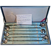 Japanese 6 Iced Tea Straw/Spoons Set 950 Sterling Silver w. Provenance