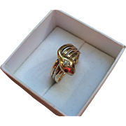 Victorian Triple Coiled 14k Gold Diamond Snake Ring