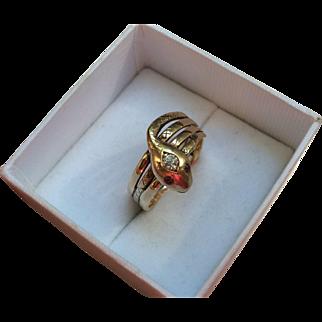 Victorian Triple Coiled 14k Gold Diamond Snake Ring