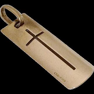 Modernist 18k Gold Mid-Century Cross Pendant