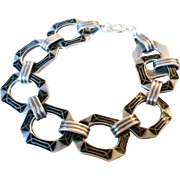 Art Deco Sterling Silver and Enamel Bracelet