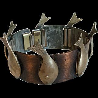 Rare Mid Century Rebajes Fish Bracelet c. 1950's