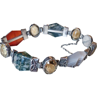 Scottish Victorian Bracelet with Agates and Citrine