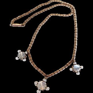 Antique Victorian 14k Gold and Moonstone Quatrefoil Necklace