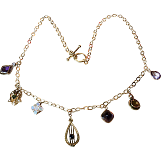 One of a Kind Victorian Stick Pin Charm Necklace 14kt