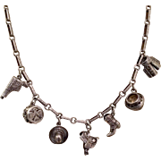 Fantastic Western Sterling Silver Charm Necklace, circa 1940-50's