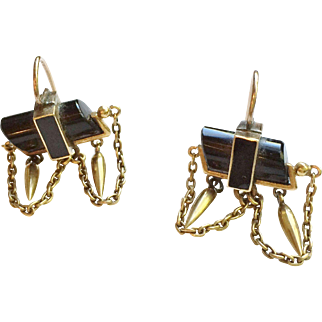 Victorian Onyx and Pinchbeck Earrings circa 1880's