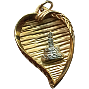 Witches Heart Charm 14k Gold w/ Mine Cut Diamonds