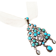 Antique Austro-Hungarian Enamel Silver Pearl Pendant