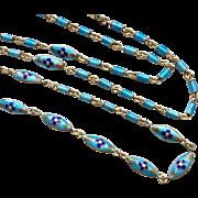 Beautiful Enamel on Silver Gilt Chain