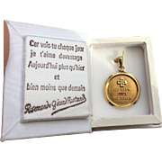 French Medal of Love, Qu'hier Que Demain 18k Gold Charm Pendant, c. 1970's