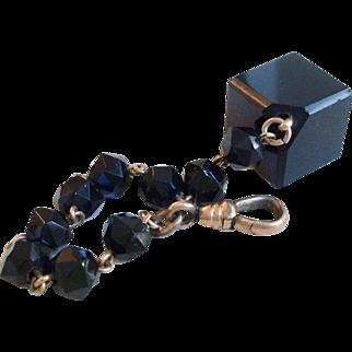 Black Jet Watch Chain with Geometric Fob