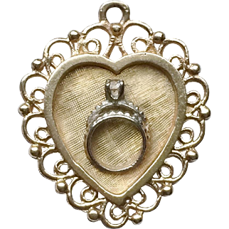 Vintage 14K Gold Heart Charm with Wedding Rings