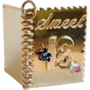 Fabulous 14k Gold Vintage Sweet 16 Charm