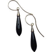 Victorian Onyx and Gold Drop Earrings