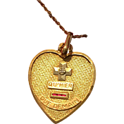 Beautiful Qu'hier Que Demain Love Token Pendant Charm w. Chain