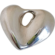 Large Sterling Silver Puffy Heart Pendant
