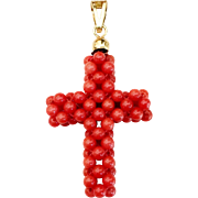 Victorian Coral and 18k Gold Cross Pendant