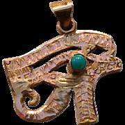 14k Gold Egyptian Eye of Horus Pendant with Turquoise Stone