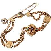 Victorian 14k Gold Slide Charm Bracelet