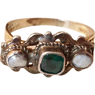 Gold and Silver Georgian Ring with Emerald and Pearls