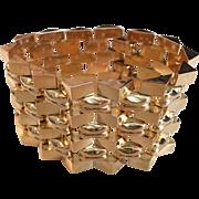 Estate 14k Gold Wide Link Flexible Bracelet