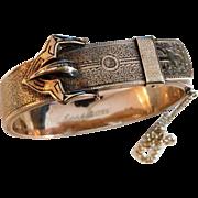 10K Rose Gold Taille d'épargne Black Enamel Victorian Buckle Bracelet