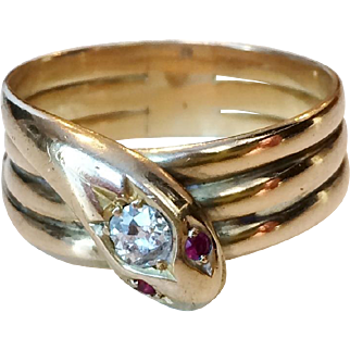 Victorian 18k Gold Snake Ring with Diamond and Rubies