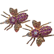 Pair of Beetle Pin/Pendants in Gold over Silver with Rubies and Diamonds