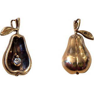 Unusual 14k Gold Pear Charm~Pendant with Diamond