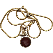 Victorian Carnelian Intaglio Hand Watch Fob on Watch Chain