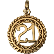 "Vintage 14k Gold ""21"" Charm Pendant"