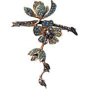 "Beautiful French ""En tremblant"" Vintage Brooch with Turquoise & Marcasite"