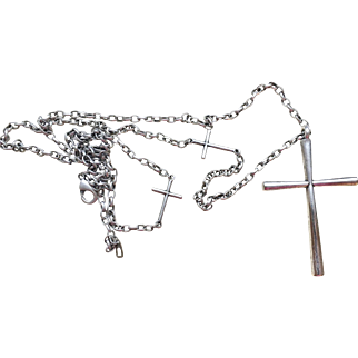 Vintage Silver Plate Long Chain with Cross Pendant