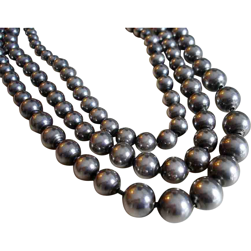 Silver Beads: Sterling Silver Bead Necklace Three Strands From