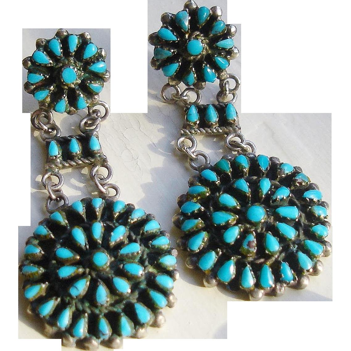 Zuni Earrings: Gorgeous Zuni Petit Point Earrings Sterling & Turquoise C