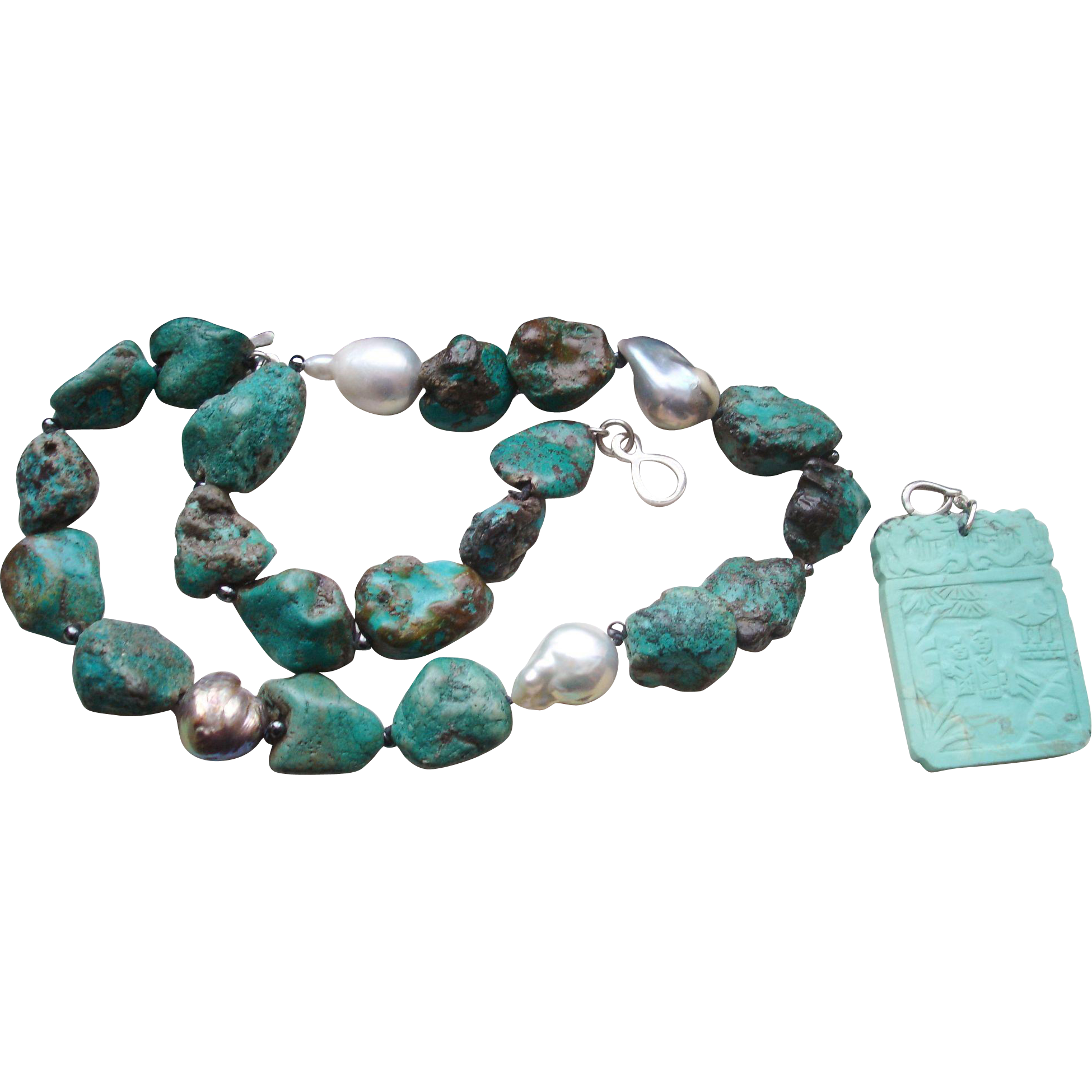 Vintage Turquoise & Pearl Necklace with Chinese Pendant