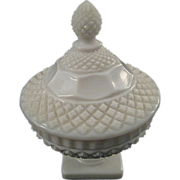 Westmoreland Hob Nail Milk Glass Footed Candy Dish with Lid