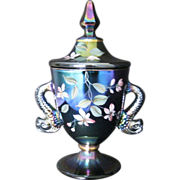 Fenton Black Amethyst Hand Painted Temple Jar