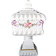 Westmoreland Roses and Bows Milk Glass Tall Lidded Compote