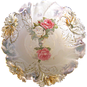 RS Prussia Carnation Mold 9.5 Inch Bowl, ca 1900
