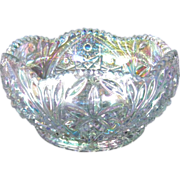 L E Smith Crystal Lustre Carnival Glass Bowl, 1975