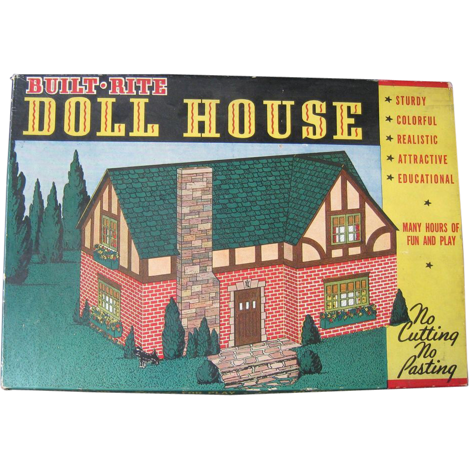 Built Rite Cardboard Doll House Kit In Original Box, Ca 1930s   Red Tag  Sale Item