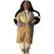 Early 11.5 Inch Skookum Native American Doll, ca 1915-1920