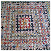 Vintage Unwashed Hand Pieced Postage Stamp Quilt,  Queen Size - Red Tag Sale Item