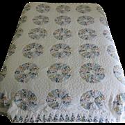 Dresden Plate Appliquéd Quilt, Queen Size