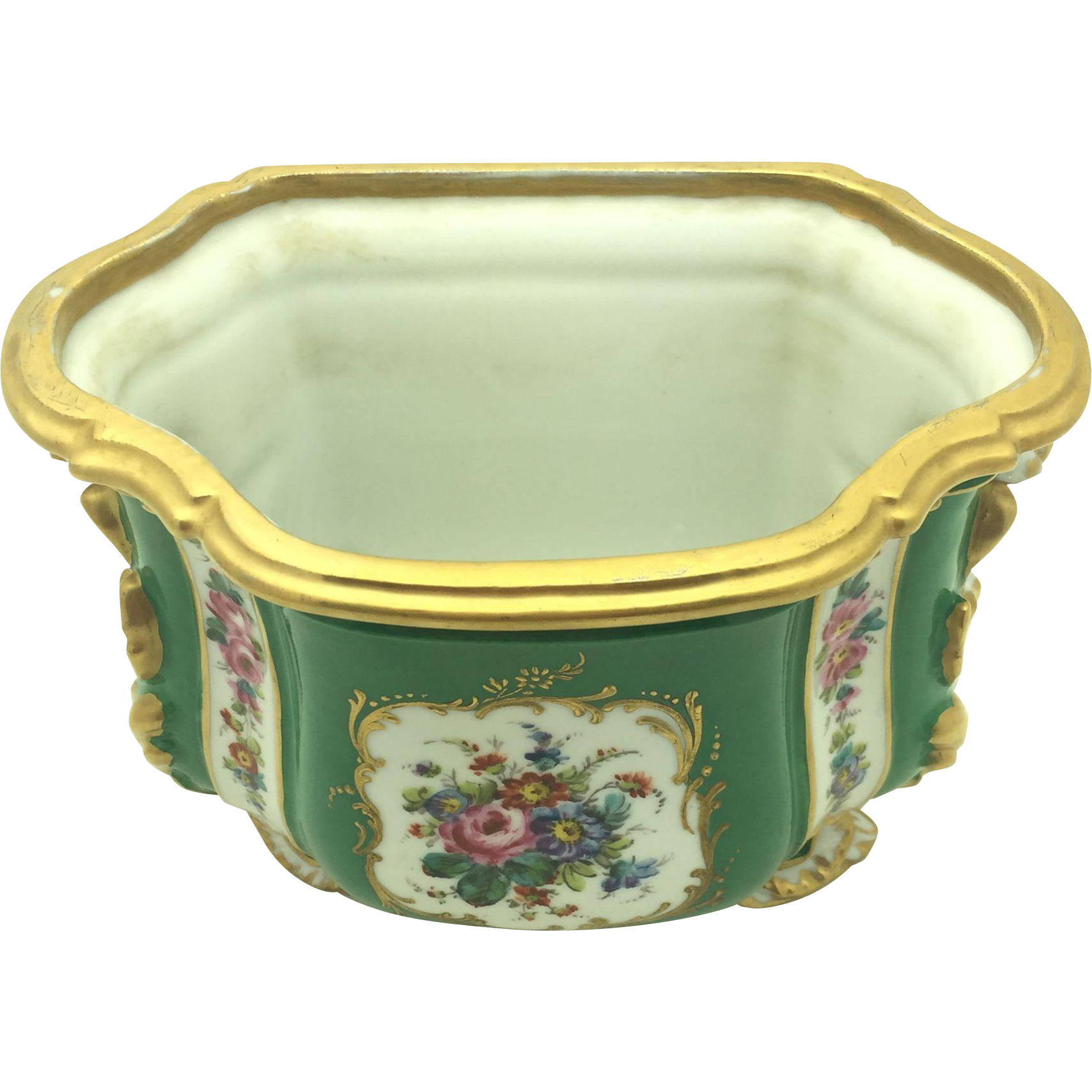 French Green and Gold Cache Pots c. 1920