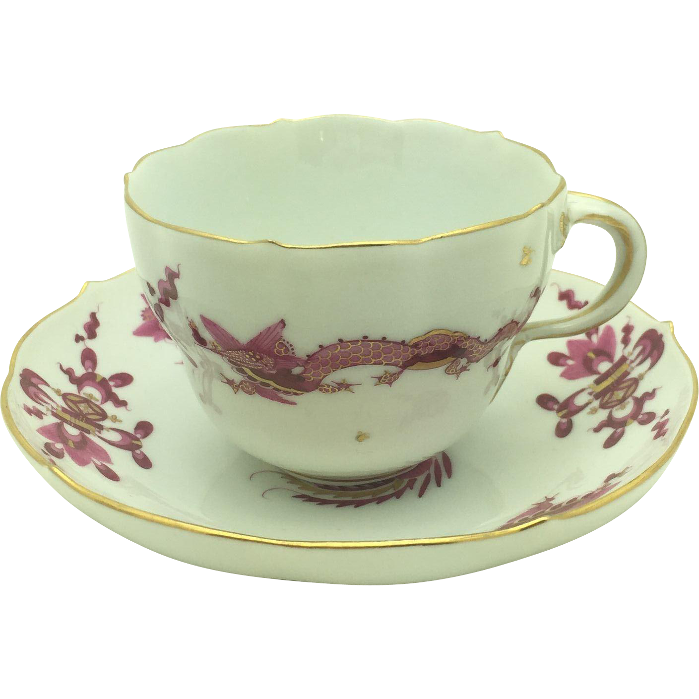 Meissen Rich Court Pink Dragon Cup & Saucer
