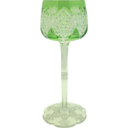 Baccarat Green Cut to Clear Hock Wine Glass