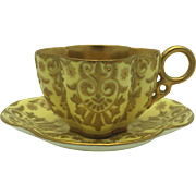 Fine Coalport Yellow & Raised Gold Demitasse Cup & Saucer